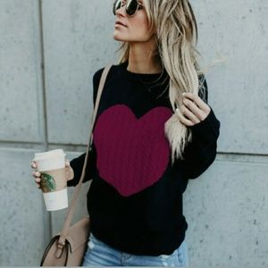 Sweaters - Cute Black Sweater with Deep Red Heart Sz L